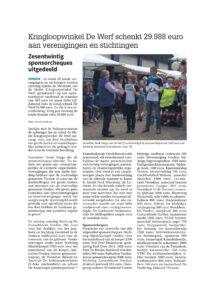 Kringloopwinkel De Werf schenkt 29.988 euro aan verenigingen en stichtingen